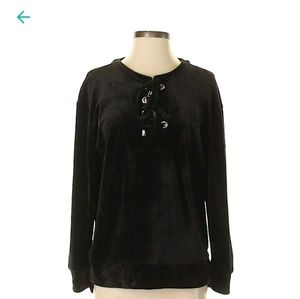 Spring + Mercer Black Velour Lace Up Tunic Top S